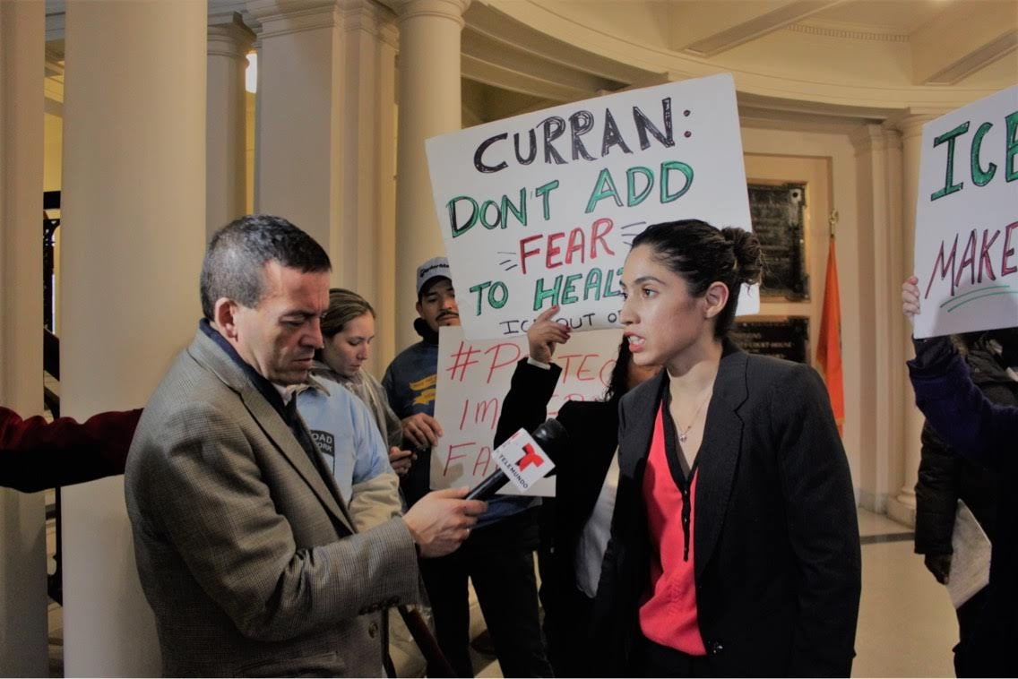 - 1/24/19: Keiko Cervantes-Ospina addresses the press at a press conference regarding ICE's presence in Nassau County. CLA and other local organizations organized the conference to oppose the proposal to house ICE agents within the Nassau University Medical Center.