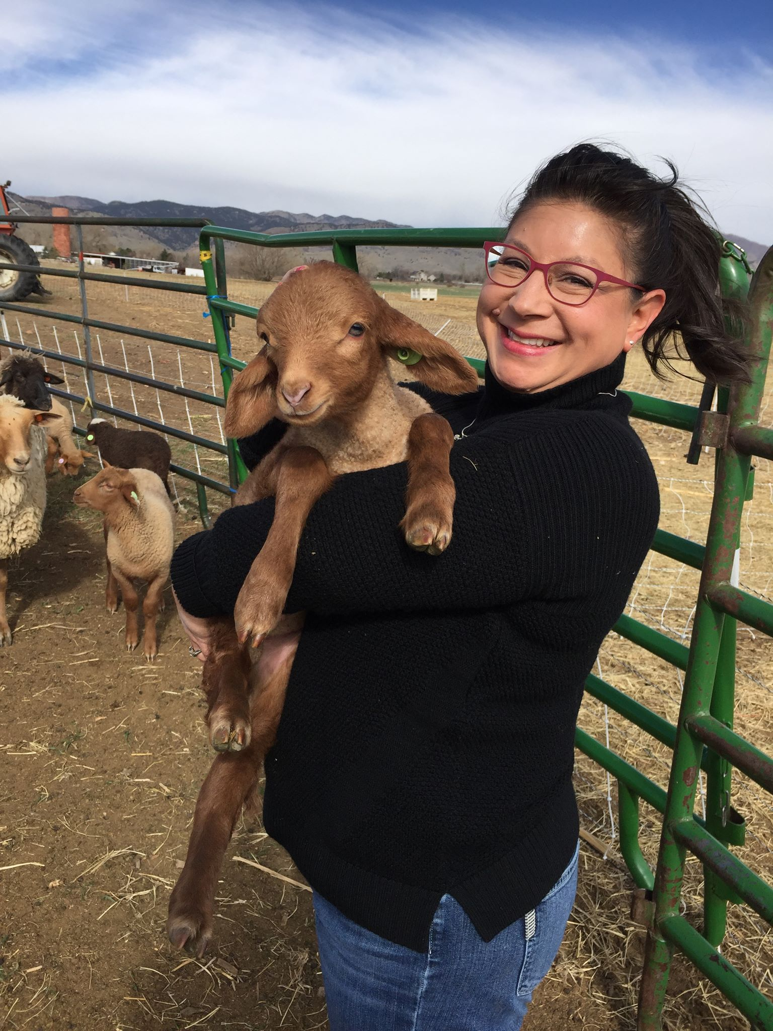 "Angela at her local sheep ranch - """
