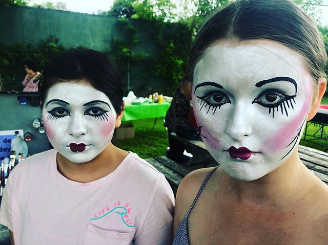 Two porcelain dolls I finished painting right before the thunderstorm hit #summer #summerbbq #porcelaindollmakeup #paintedpixie #thunderstorm #ottawalife #facepainting