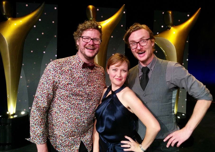 The Orchestra Team at the 2015 AACTA Awards. L-R Jamie Messenger (Composer), Melanie Brunt (Producer), Mikey Hill (Director/Animator)