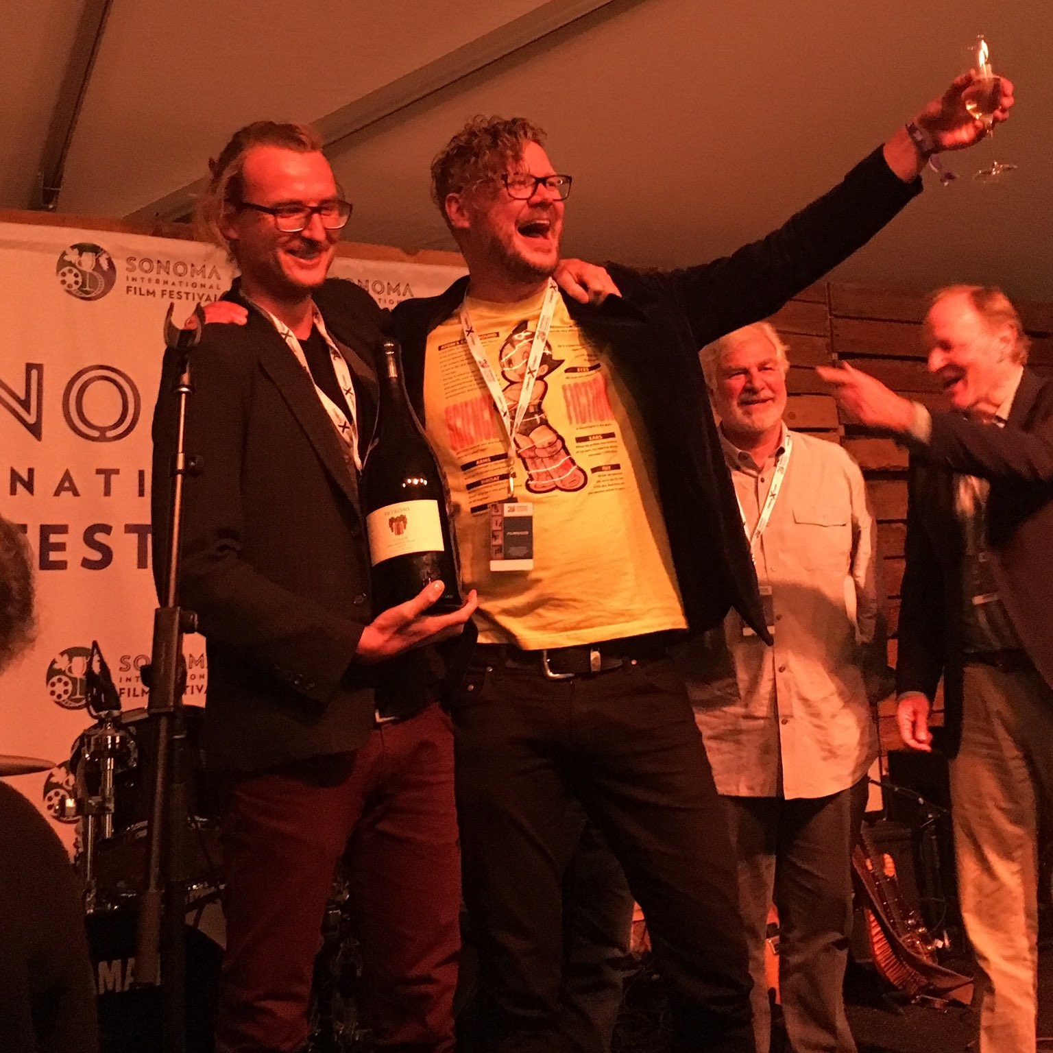 Mikey Hill and Jamie Messenger accept Best Animation Award at Sonoma International Film Festival