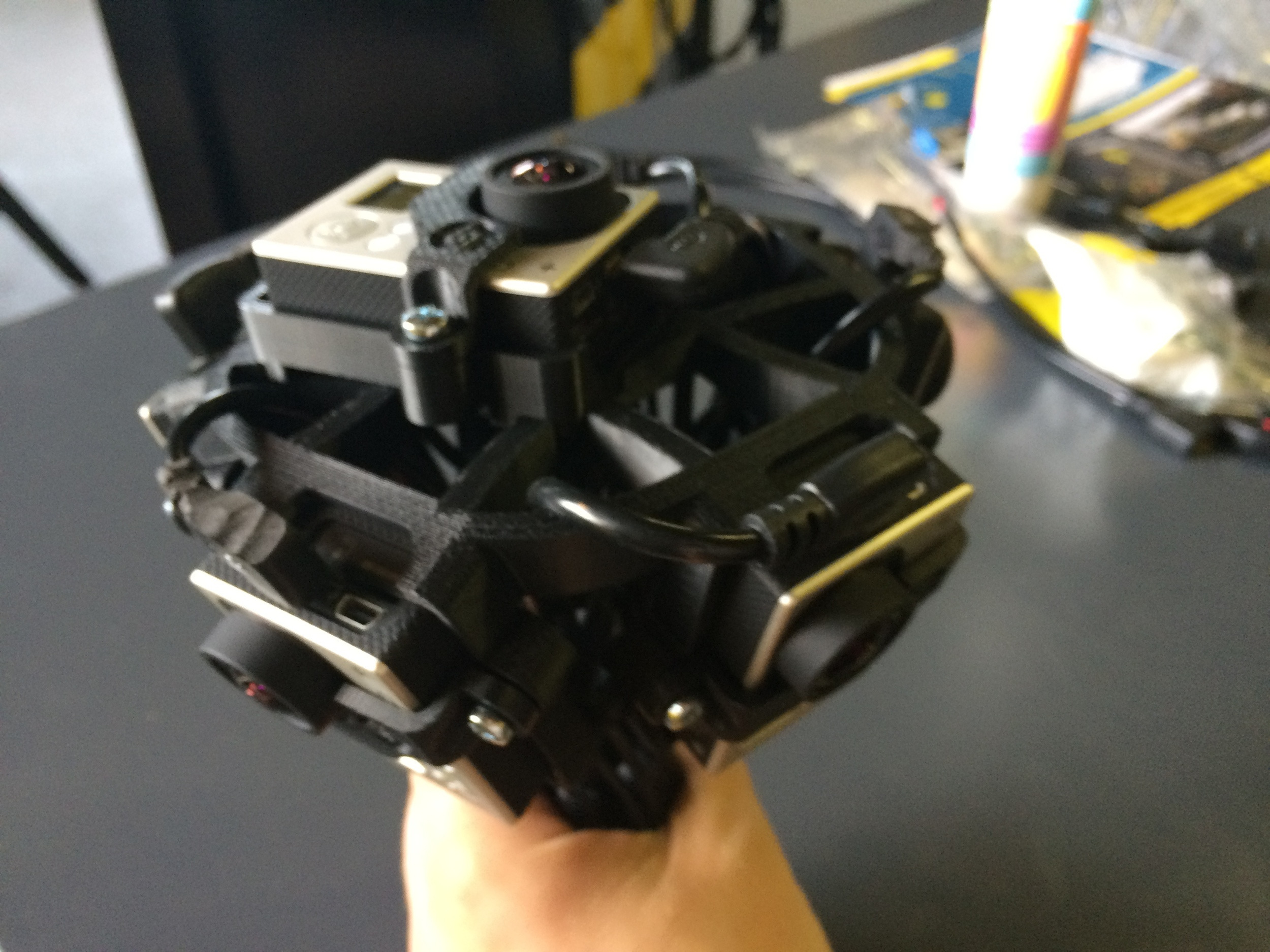 My GoPro holder after 3d printing, showing 6 GoPros installed and cables properly routed
