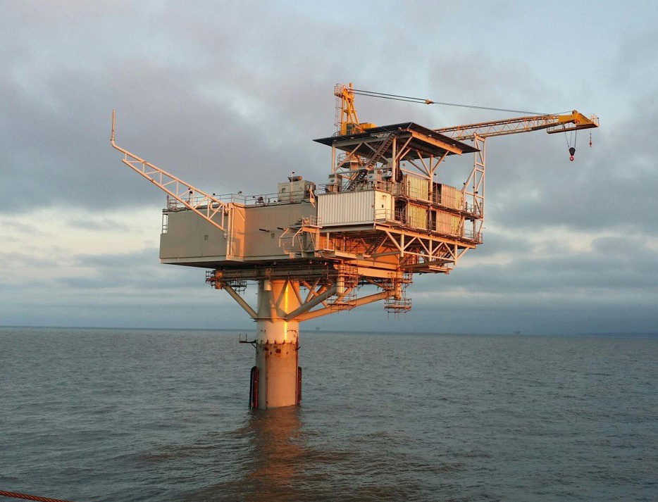 The KLU3 platform, as seen finished and installed in the Cook Inlet in Alaska