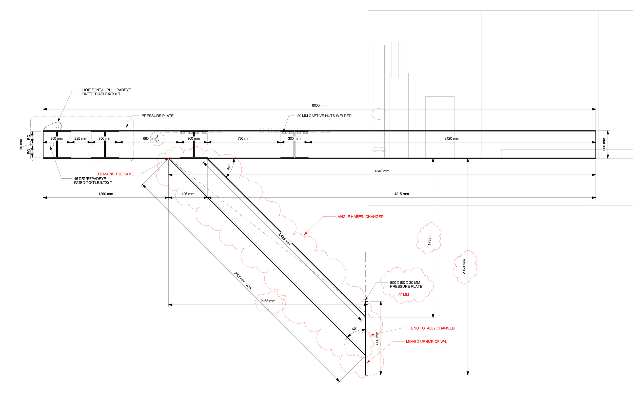 A side view drawing, from the construction set, showing dimensional data and markups (in red)