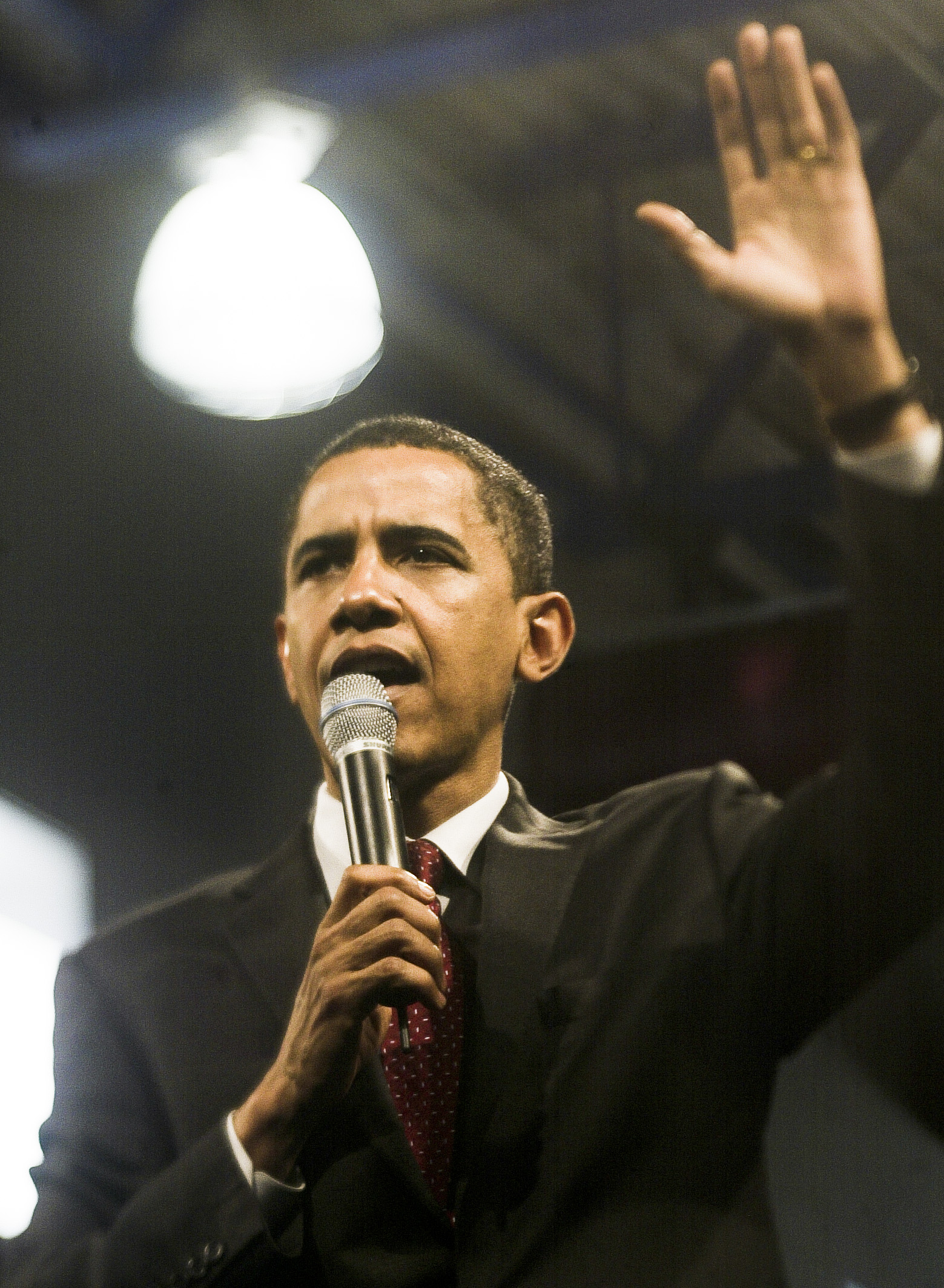 Then Senator Barack Obama (D-IL), is seen while campaigning for president at a rally in Virginia. - Alex Lorman