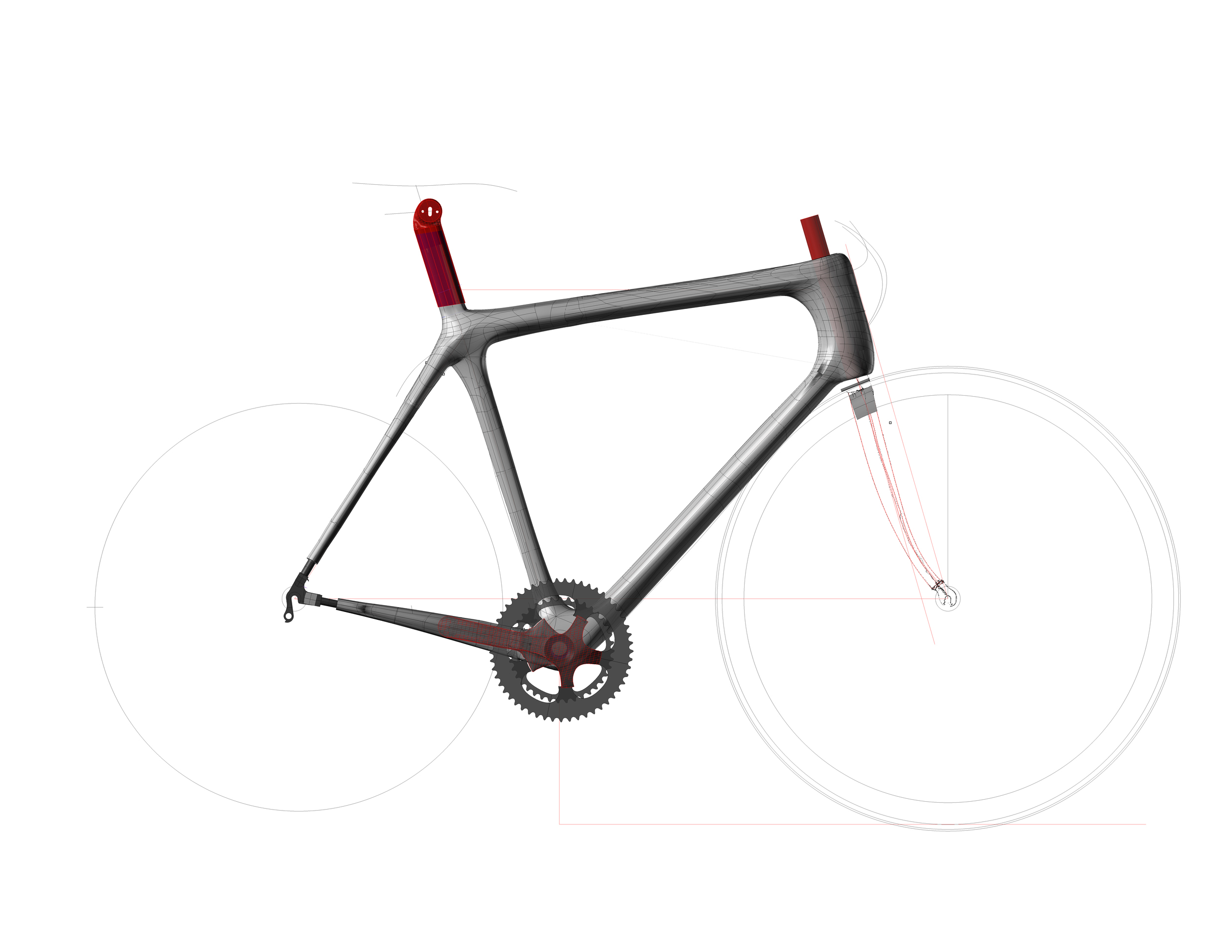 A screen capture of the finished frame showing dropout fits and seat and stem mounting.