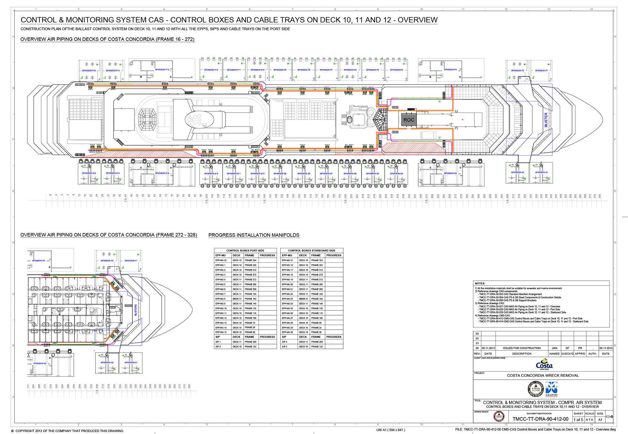 A system diagram of the sponsons and associated hardware I was responsible for installing on the COSTA CONCORDIA