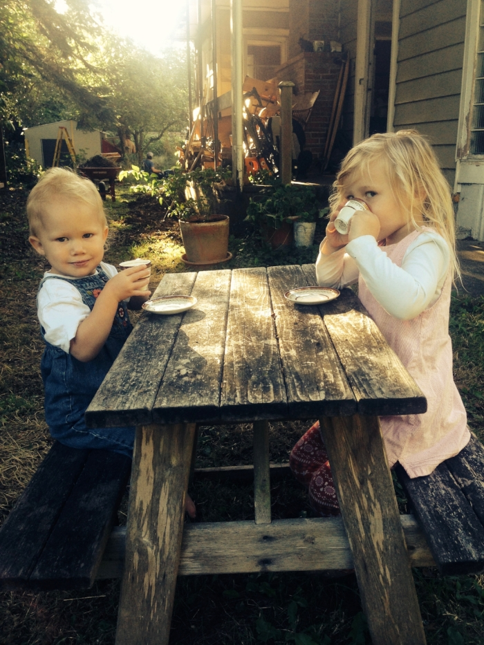 The girls drinking their Babycinno's.