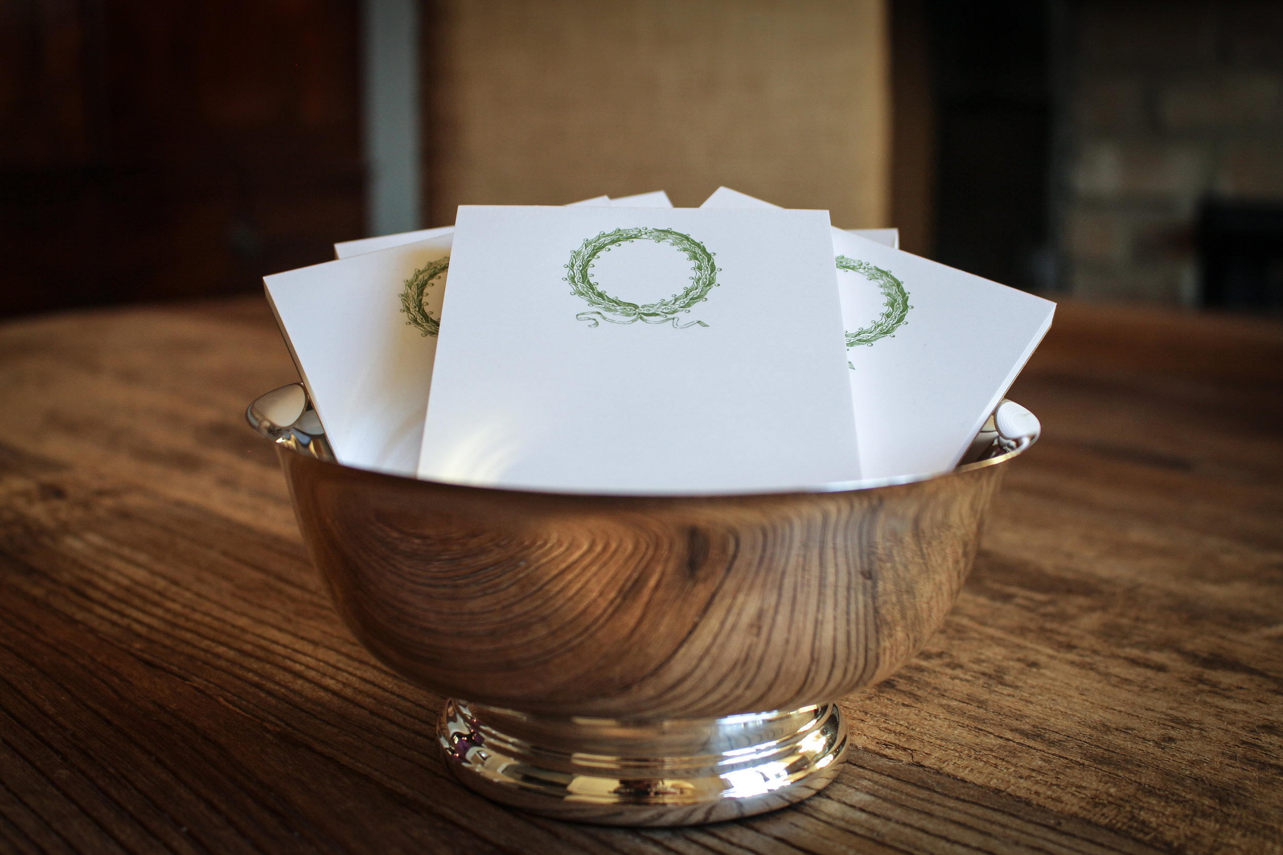 Green Wreathe Small Notepad on Fine White Stock...Set of 2...Item is Gift Wrapped