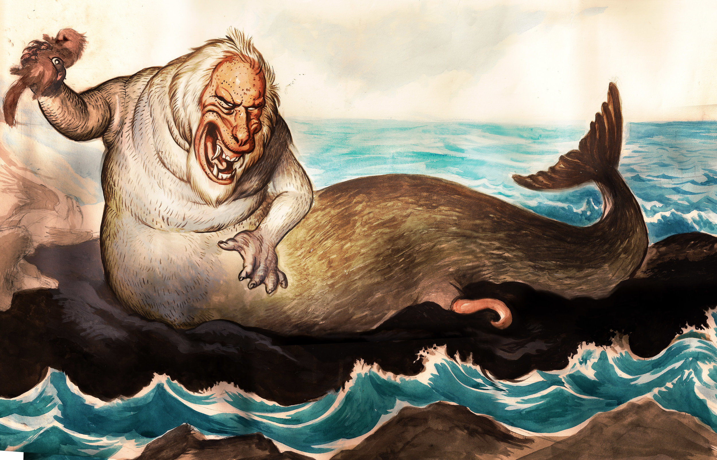 INTERSTELLAR ODYSSEY–Watercolor on paper. Representation of Steller's sea ape, a hypothetical creature seen by german explorer Georges Steller.