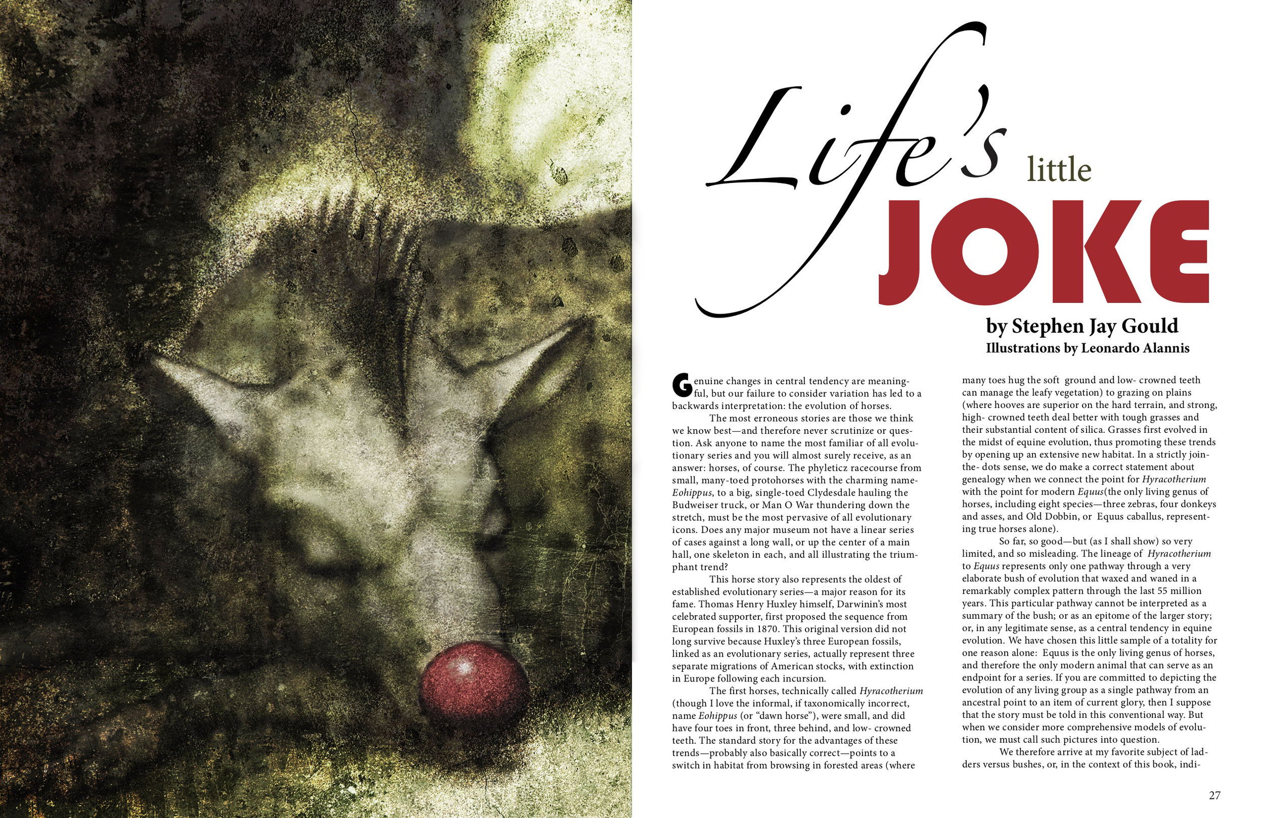 LIFE'S LITTLE JOKE–Digital graphite. Conceptual illustration on horse evolution.