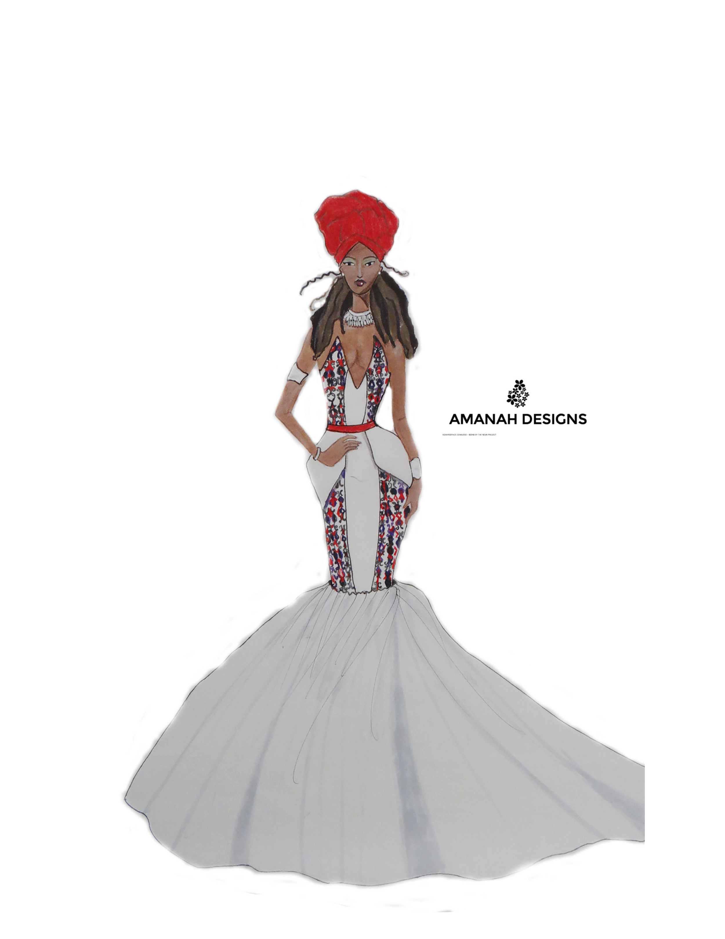 """African queen, wear your crown with pride.""  Style Description: Strictly african inspired evening dress with a head wrap."