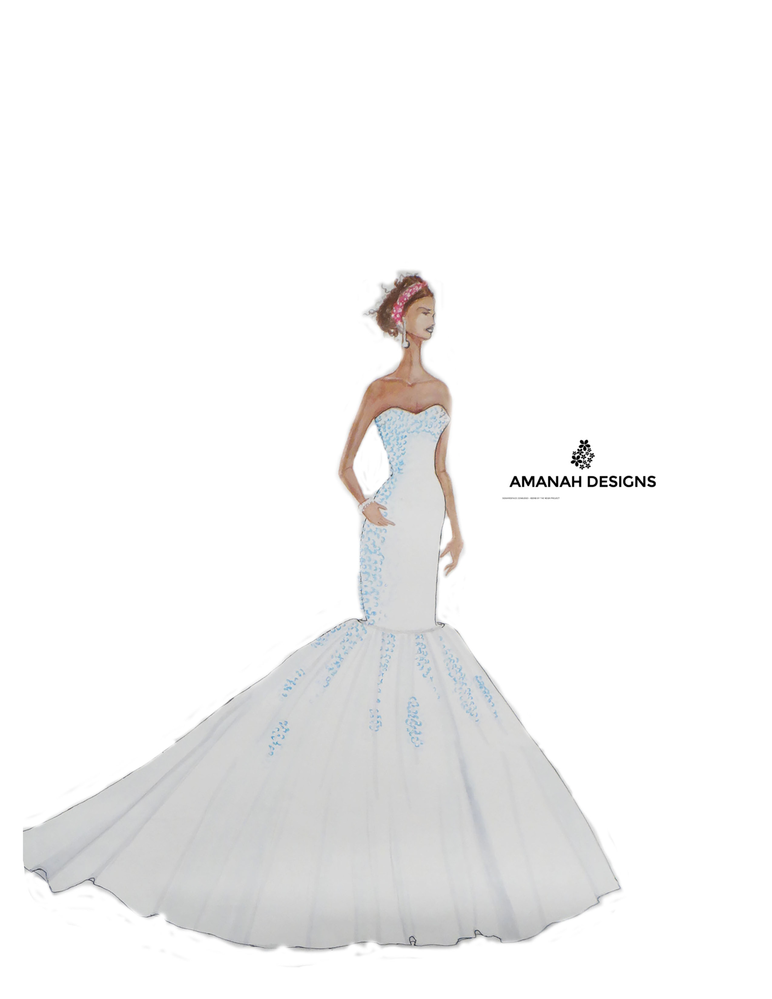 Style Description: Bustier- style wedding/ evening dress with blue rhinestones and a long trail at the back.