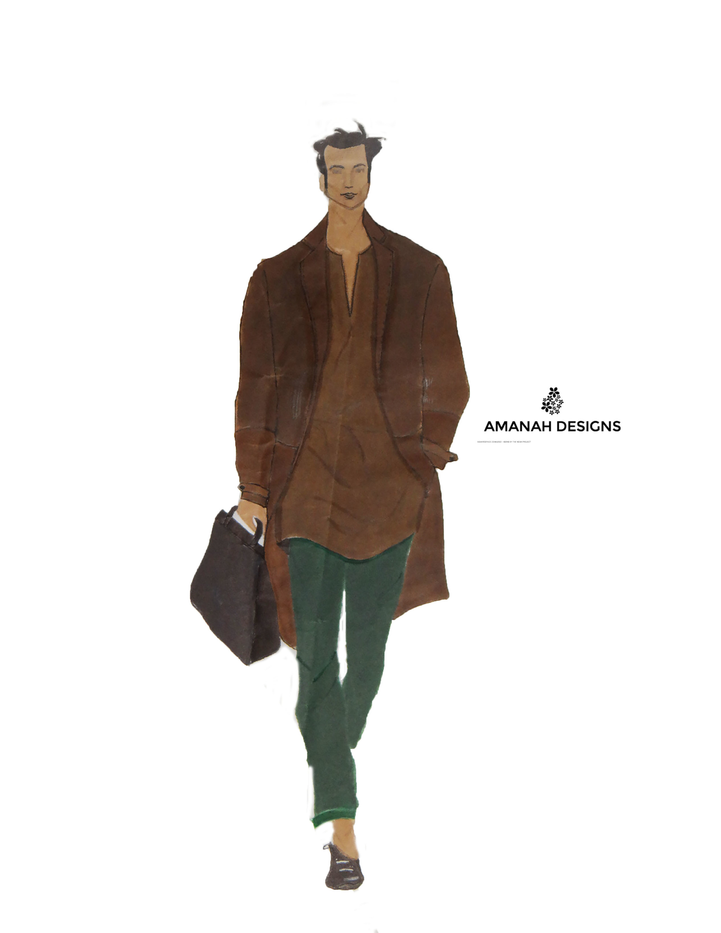 Style Description: (Casual/ Official wear for men) Brown corduroy blazer, light chambray shirt, green slim- fit pants and black loafers.