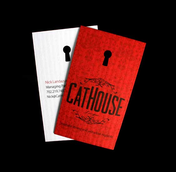 Featured in The Best of Business Card Design 9  Cathouse Nightclub & Restaurant
