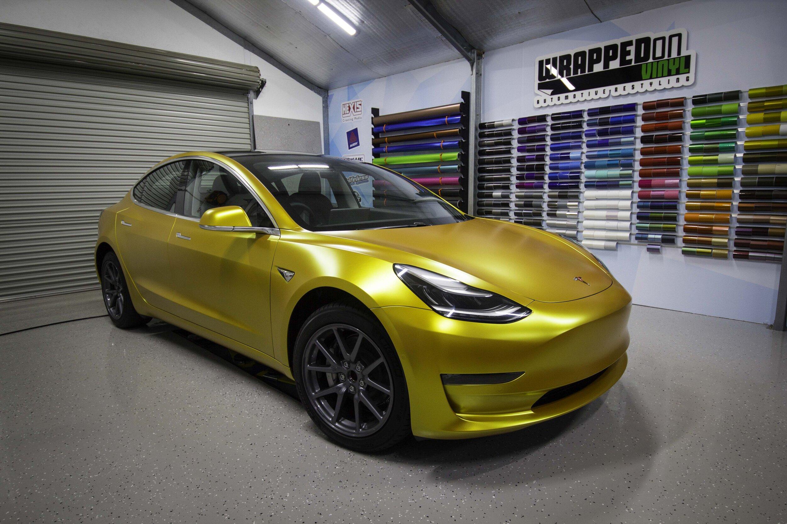 Tesla Model 3 Car Wrap (Satin Energetic Yellow) Example