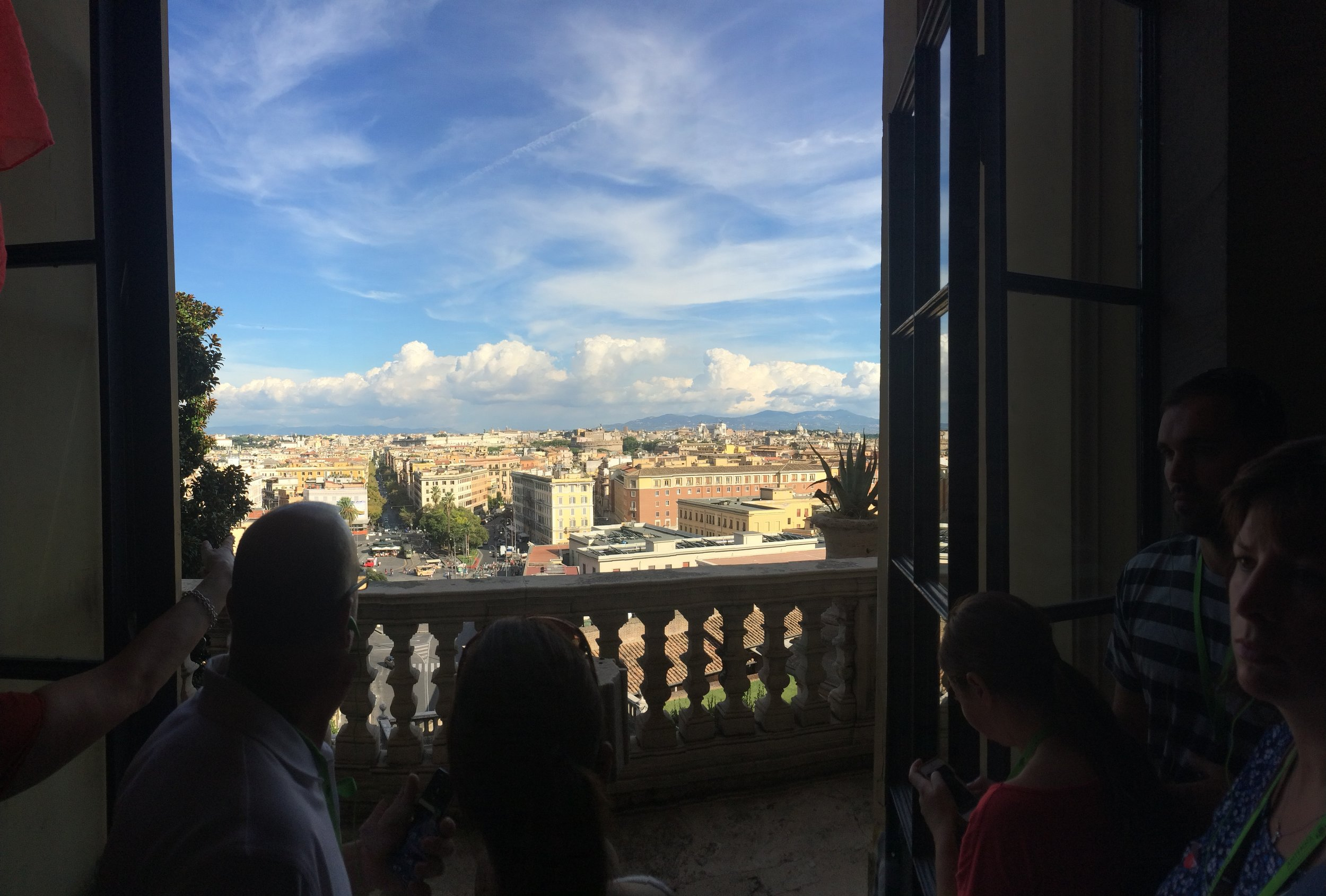 A view of the city of Rome from Vatican City. I think those may be the seven legendary hills in the distance.