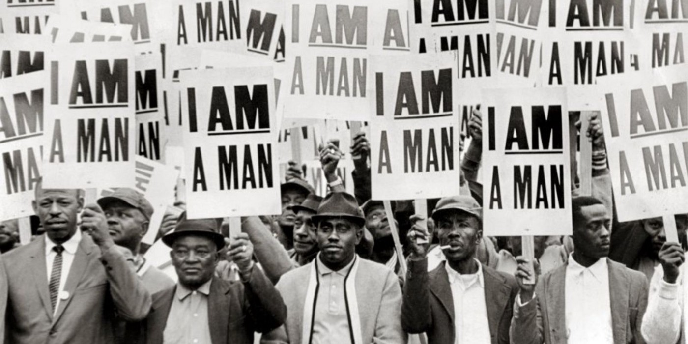 Sanitation workers strike in Memphis in 1968 just before Dr. Martin Luther King,Jr