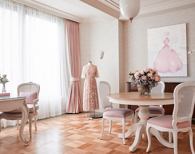 The Residence by @kerriehessillustration at @langhammelbourne dining room! We created a French apartment feel with @kerriehessillustration original art work hanging proudly in the space. All new dining furniture, curtains, refinished and refurbished desk and chair plus some stunning blooms brought the dining space to life. 💕