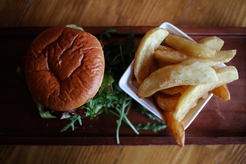 Bacon Burger and Chips at The Cowley Retreat