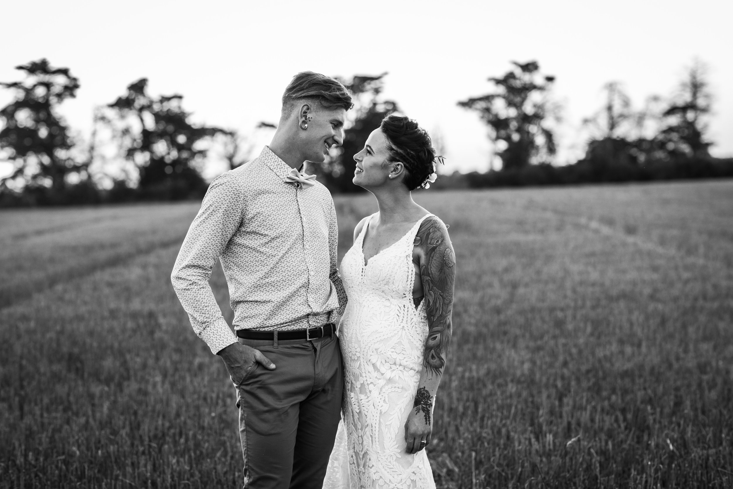 Bride and groom get married on their Geelong country property. After the wedding we had portraits at sunset in the open field.