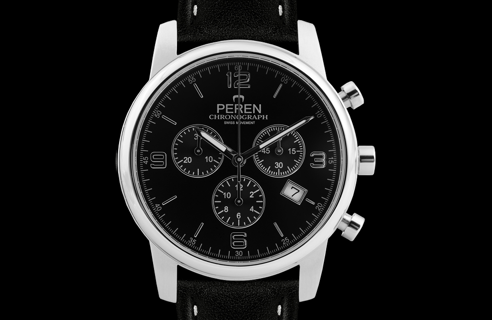Classic Design - Classic designed Chronograph watch with surgical grade Stainless Steel 316L case that measures 40 mm in diameter and has a thickness of 10 mm. The case is tested to withstand up to 3 ATM
