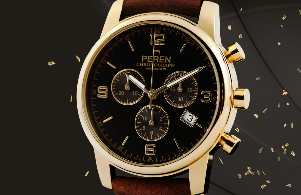 Golden Ages - The watch features a PVD gold coated two-tone Stainless Steel case combined with gold applied indexes on the dial and the gold PVD coated hands