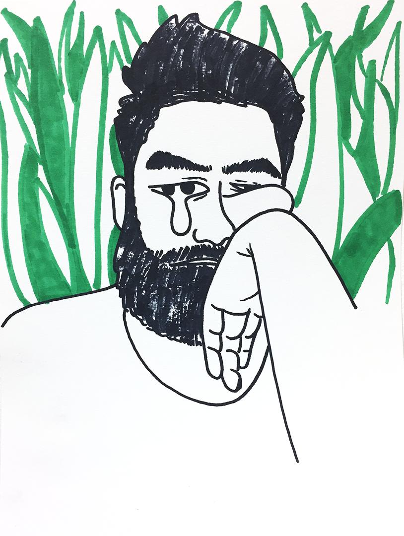 retrato con plantas