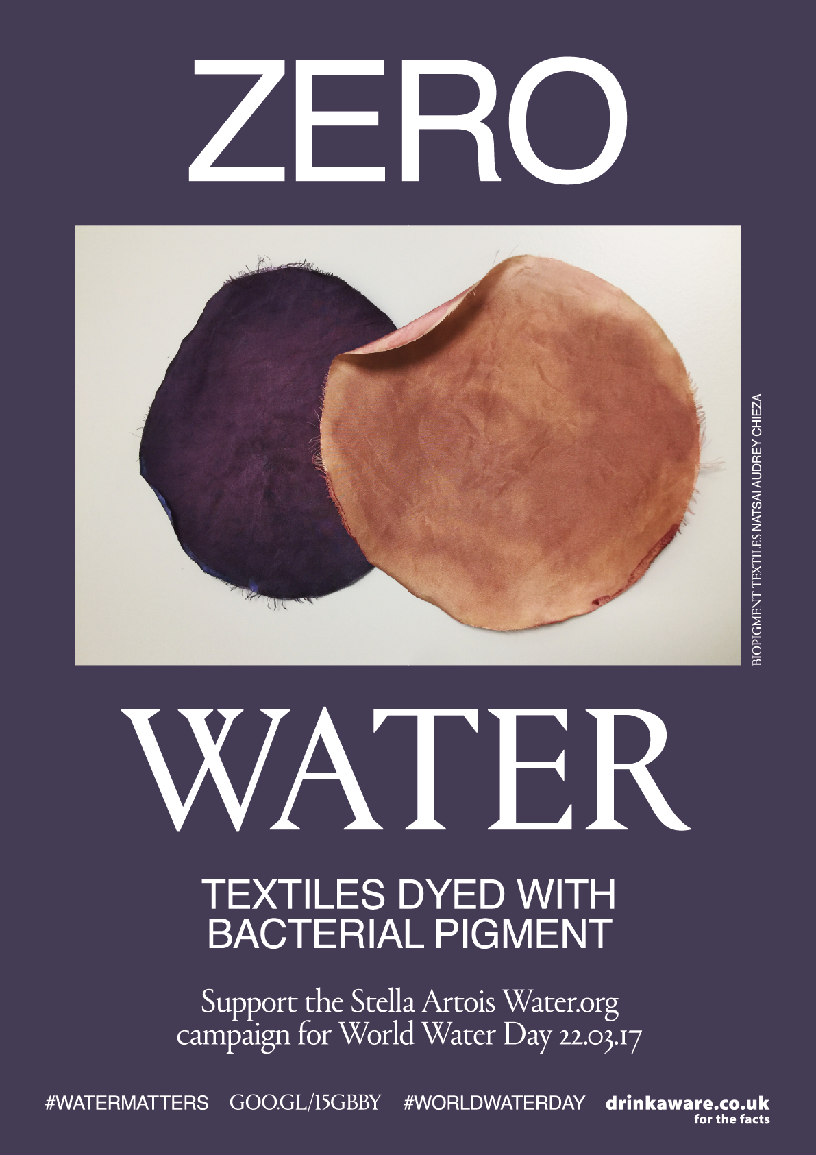 ZERO WATER, MATTER                                                                                                    The textiles undustry is the second largest in world making it one of the most water polluting. Designers such as  Natsai Audrey Chieza  from  Faber Futures  are finding new ways in which to eliminate water usage with biological pigments from bacteria for fabrics dyeing and printing.