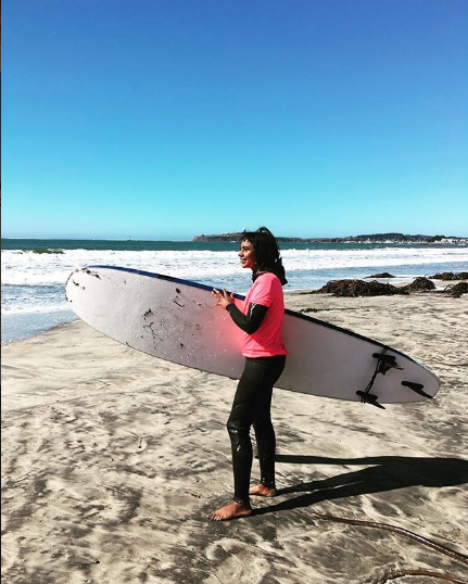 Heta at her first surf lesson.