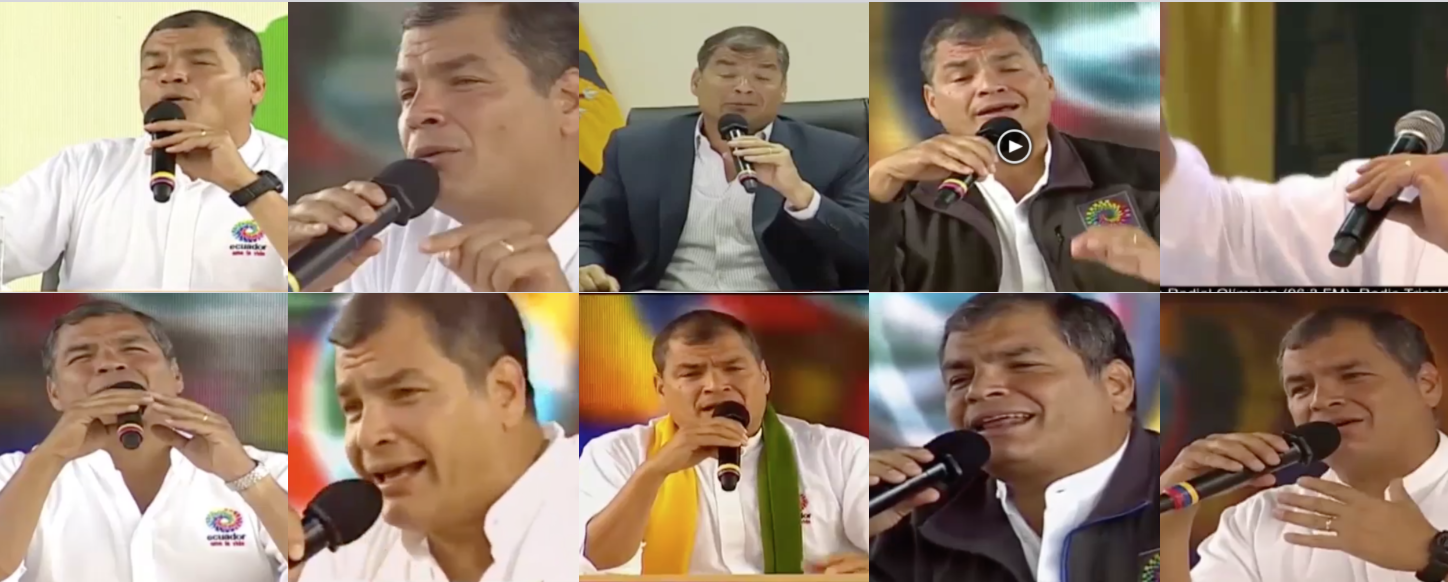 Images from the weekly oficial broadcast from Rafael Correa