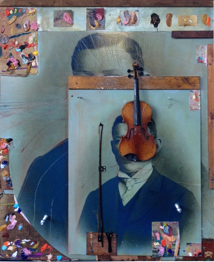 Oil, violin on canvas  on photo 158x122cm