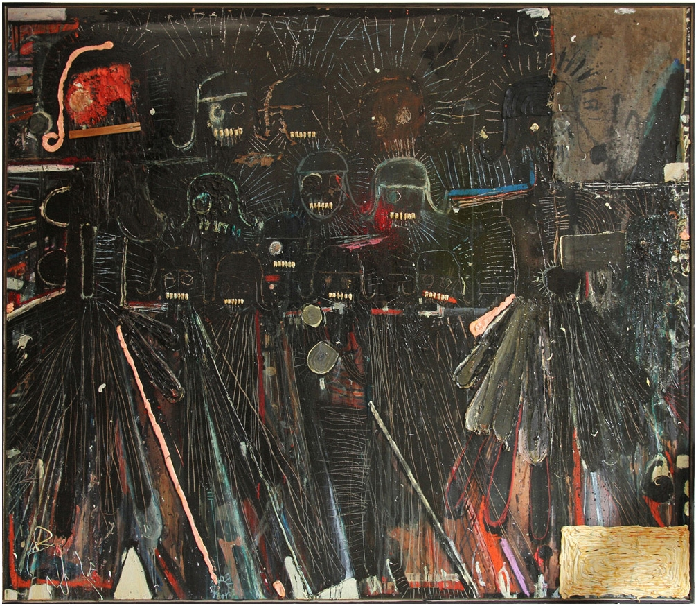 "Oil and wisdom teeths on wood 215x244cm Titel: ""War 21st century masterpiece"""