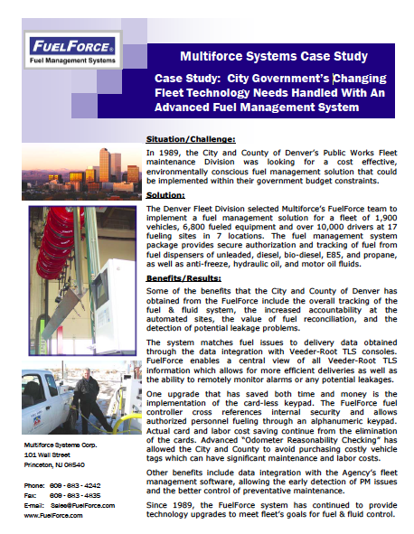 Case Study - City Government's ChangingFleet Technology Needs Handled With AnAdvanced Fuel Management System