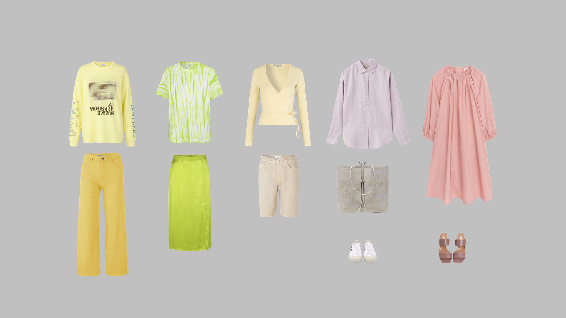 Yellow sweatshirt ,  Green t-shirt ,  Yellow cardigan ,  Lilac shirt ,  Dress ,  Yellow jeans ,  Green skirt ,  Grey shorts ,  Bag ,  Sneakers ,  Sandals .