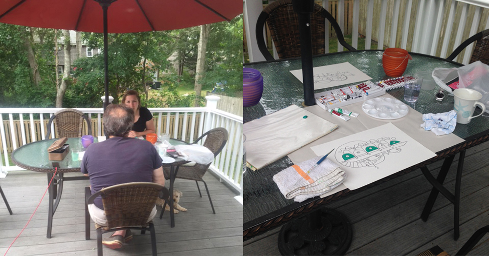 Rebecca and I ( left ) at the porch table drawing and talking one early morning. Our table setup ( righ t)