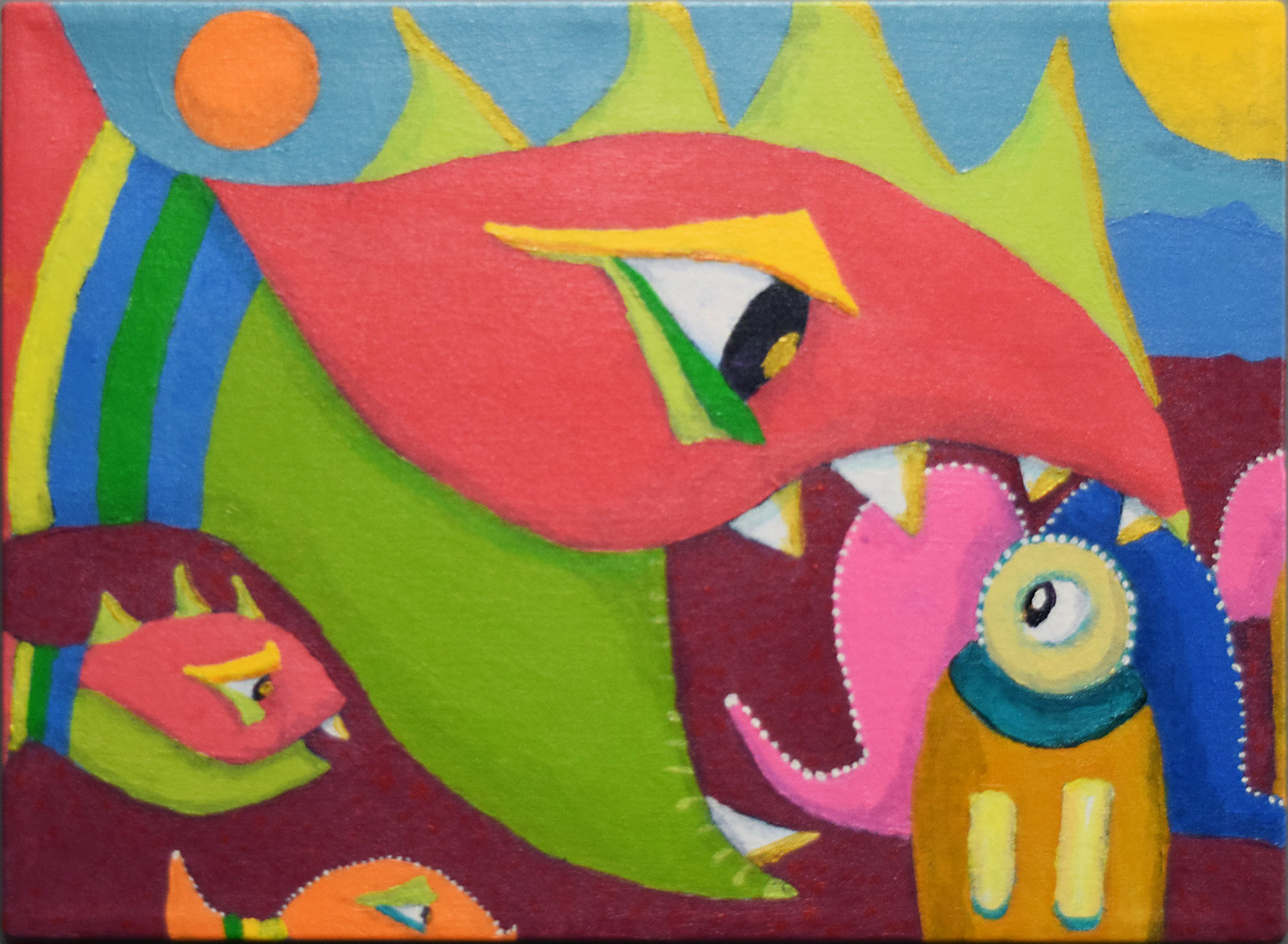 One of my newer paintings,  Attack,  which was included along with 21 other paintings.