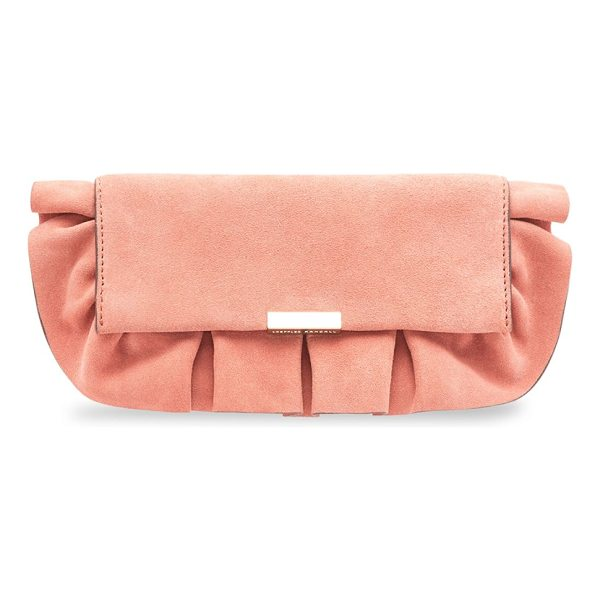 Tab Ruffle Suede Clutch - This super cute leather clutch from Loeffler Randall in Dusty Rose is perfect for mom's date night with dad or out with the girls. Onsale now for $221.25.