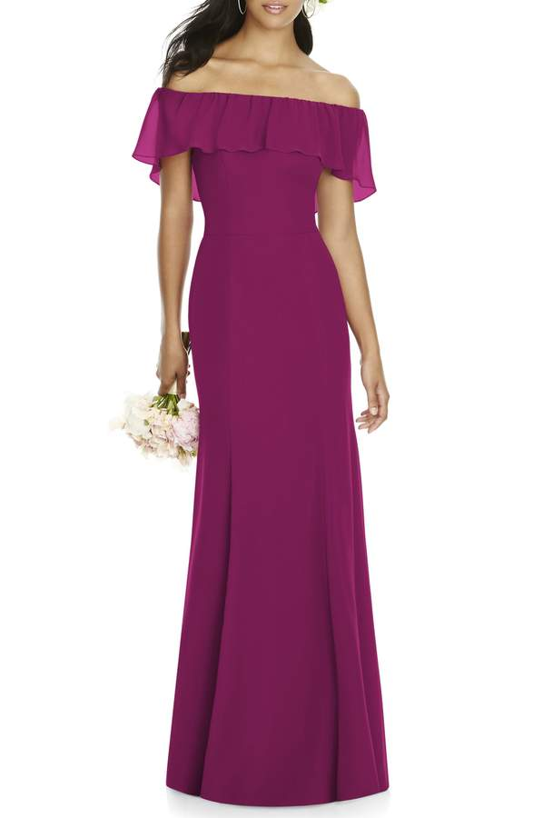 Ruffle Off the Shoulder - Totally ethereal and on-trend, this matte-chiffon gown comes in Merlot (shown here) and Larkspur (a pretty periwinkle blue). It's a little more expensive than the options above, but it's still a solid deal. Price: $210