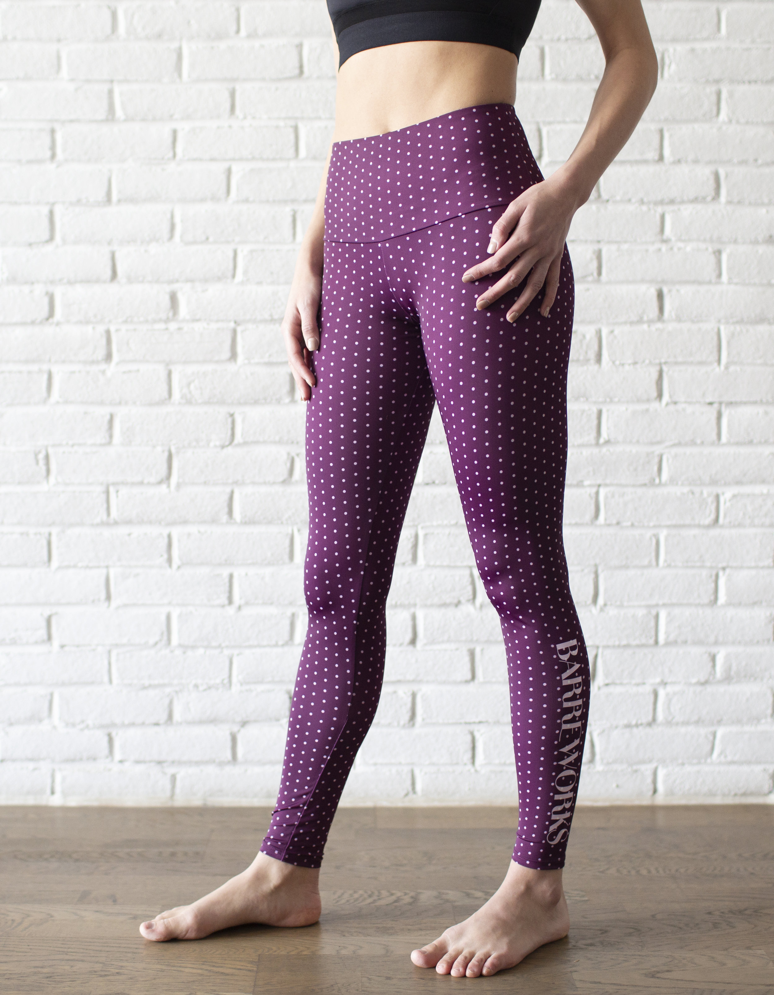 Aubergine Dot High Rise Legging