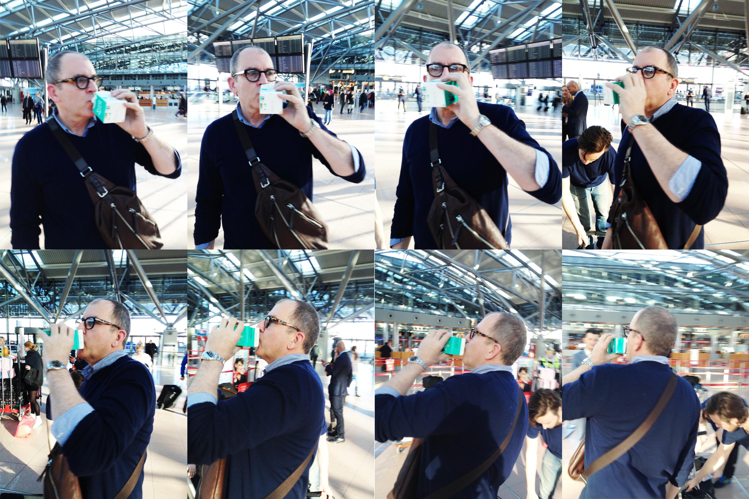 At Hamburg Airport. Photoshoot break with Ivo von Renner.