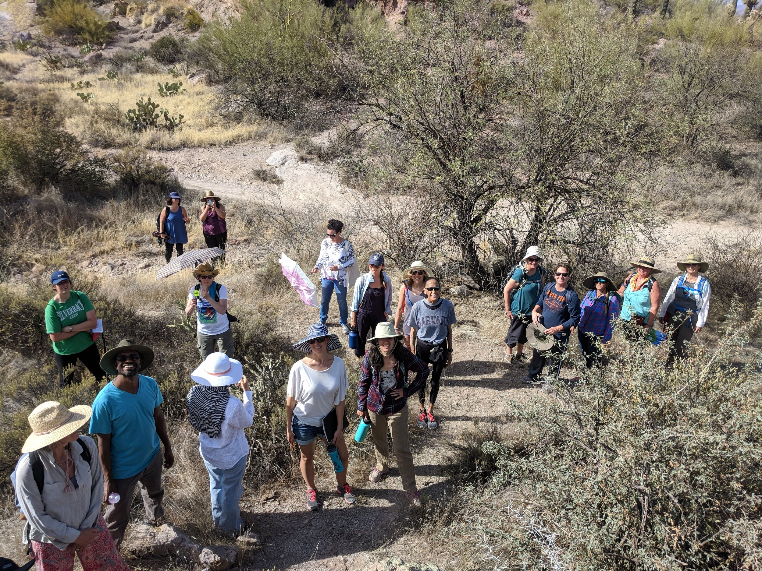 A group of intrepid explorers on a guided desert hike in April 2018