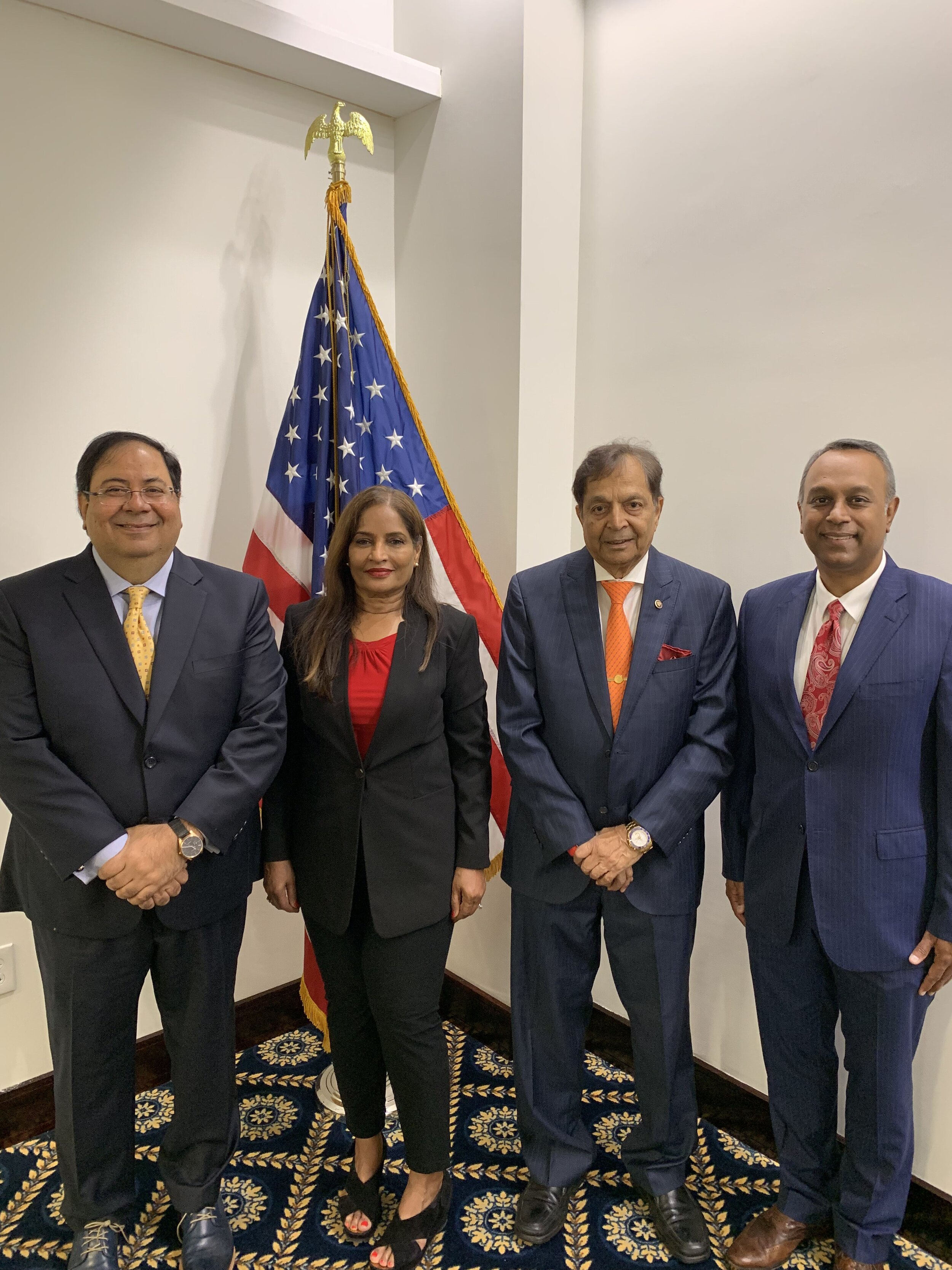 From Left to Right:  Mr. Suresh Nichani, Dr. Udaya Shivangi (American Association of Physicians of Indian Origin), Dr. Sampat Shivangi and Mr. Joel Anand Samy (Co-Founder of International Leaders Summit)