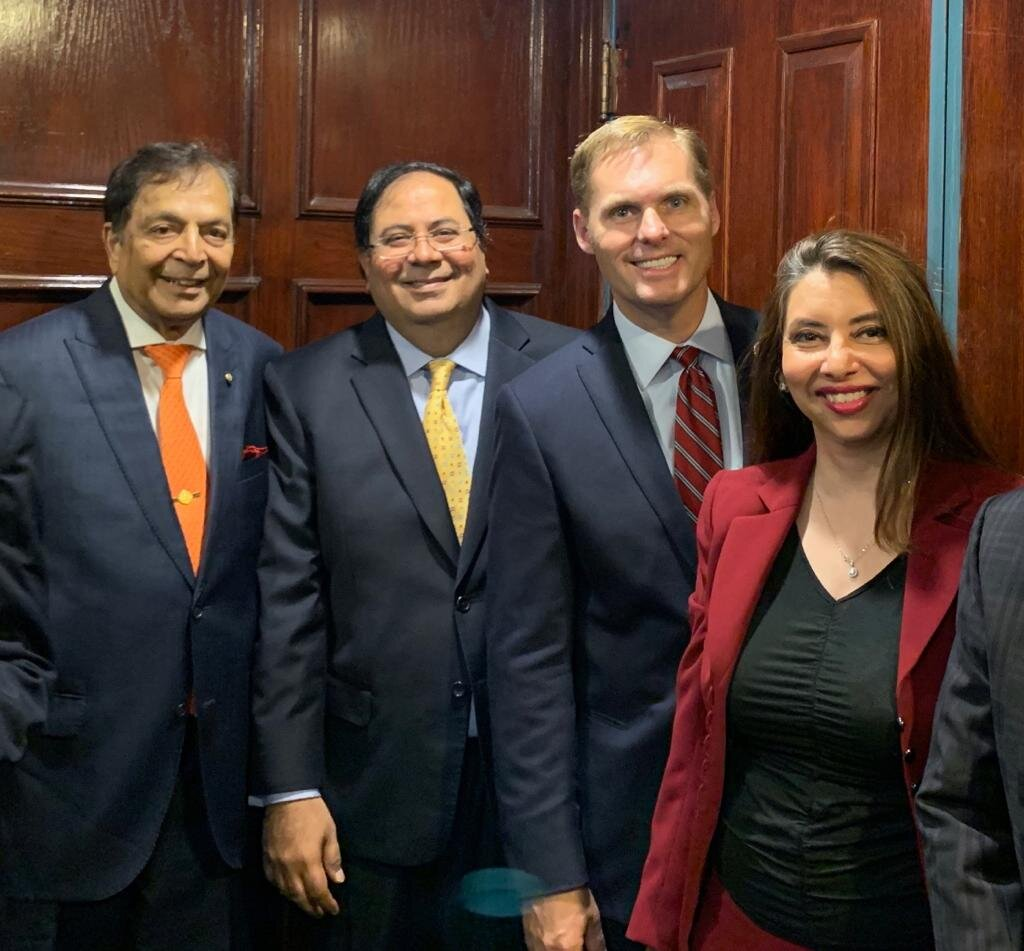 From Left to Right : Dr. Sampat Shivangi, Mr. Suresh Nichani, Congressman Michael Guest (House Committee on Foreign Affairs, Committee on Homeland Security) & Dr. Seema Arora (Chair, Board of Trustees of American Association of Physicians of Indian Origin)