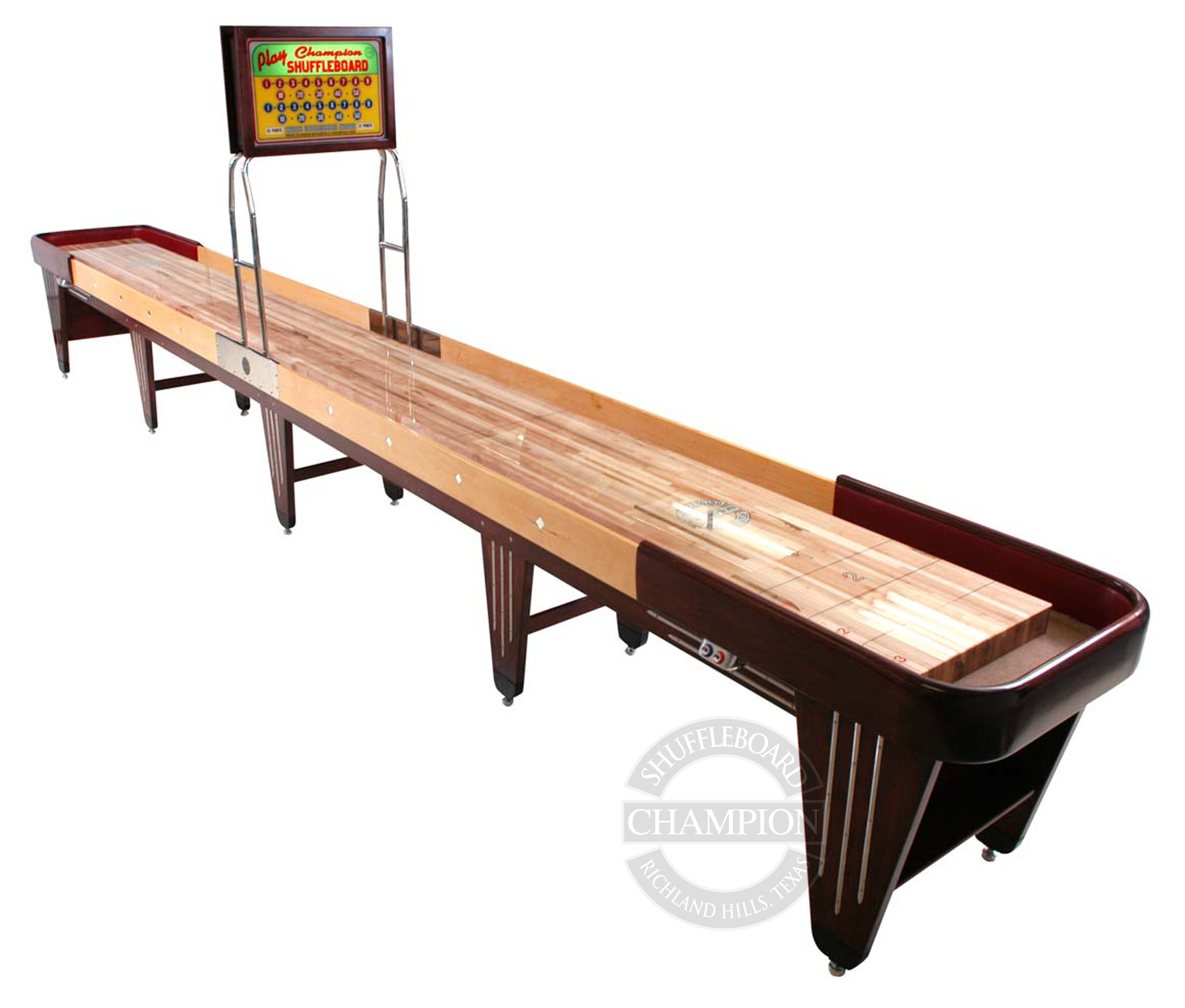 """Champion Vintage Charleston  Specifications  Playfield Size: 3"""" thick x 20"""" wide  Cradle Lengths: 12' - 22' (22' tournament size)  Width: 31"""" without scoring unit; 36"""" with scoring unit  Height: 30"""" to the top of the playfield  Weight: 50 lbs per foot (approximate)"""