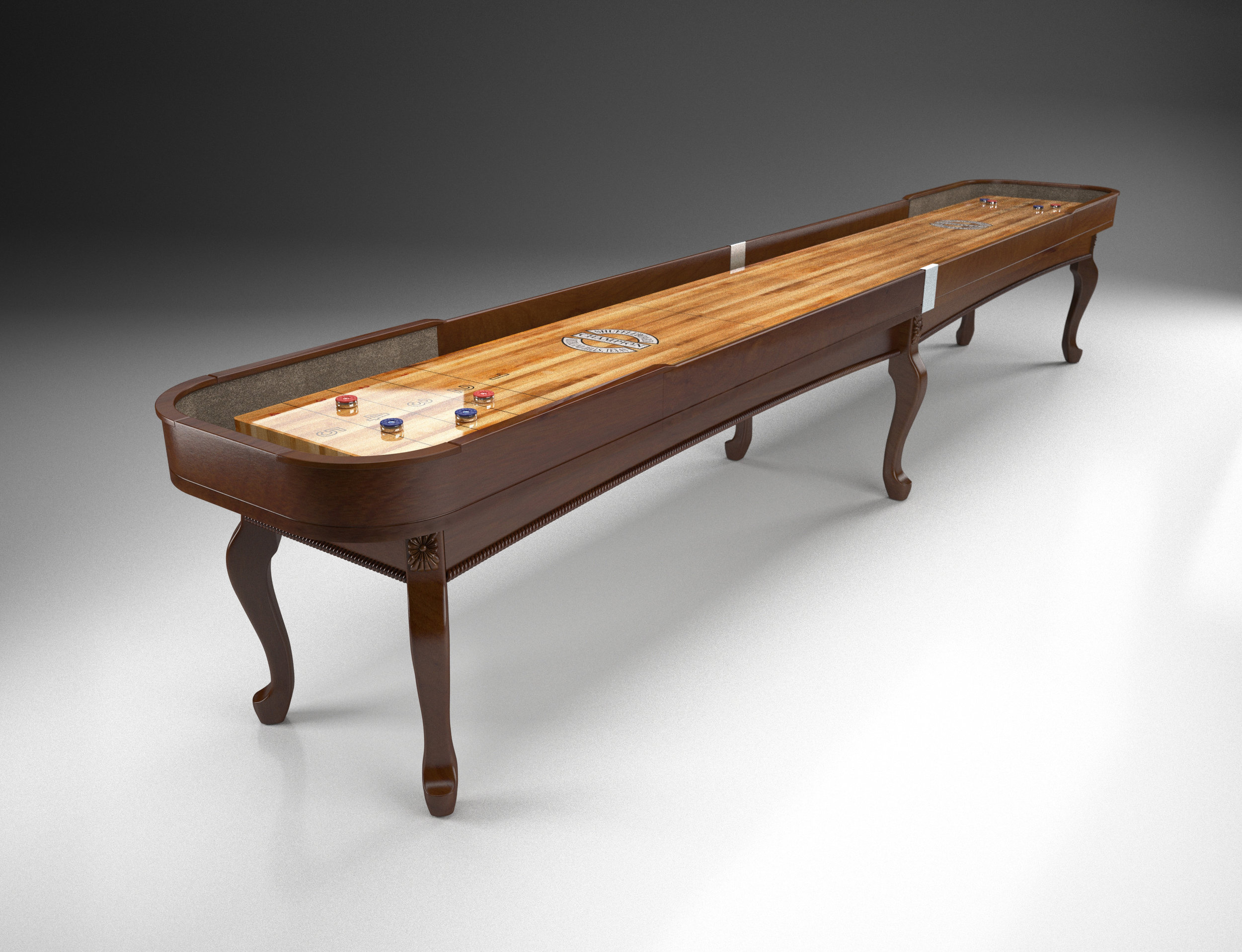 """Champion Madison  Specifications  Playfield Size: 3"""" thick x 20"""" wide  Cradle Lengths: 12' - 22' (22' tournament size)  Width: 31"""" without scoring unit; 36"""" with scoring unit  Height: 30"""" to the top of the playfield  Weight: 50 lbs per foot (approximately)"""