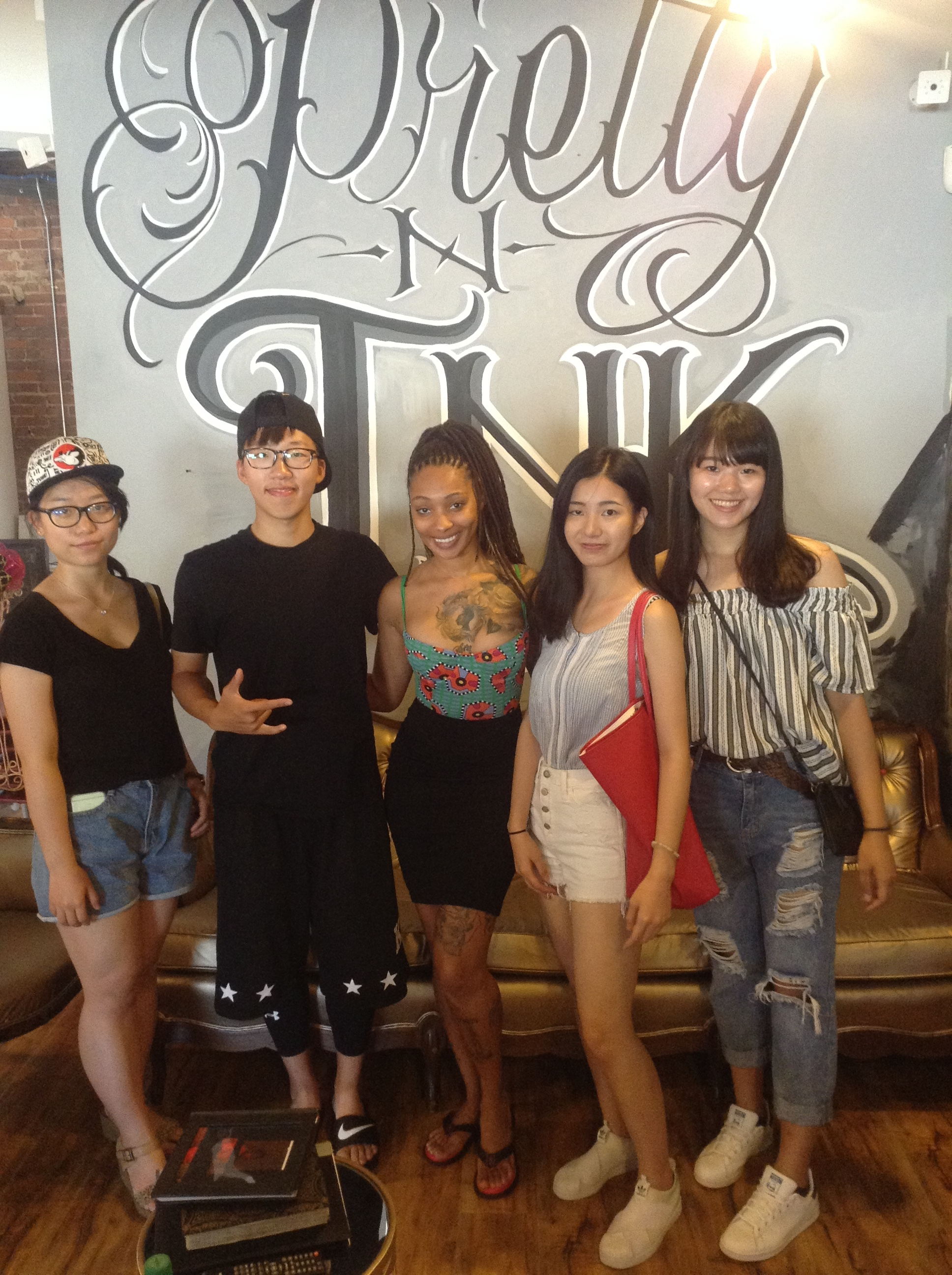 Exchange students from Shanghai and Taiwan came to get their first tats with Dutchess during their first time in America.
