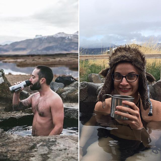 There's nothing more serene than soaking while sipping morning coffee. Just ask Jess. #funnywomen #outdoorparody #animosa #adventurouswomen #celestebarber