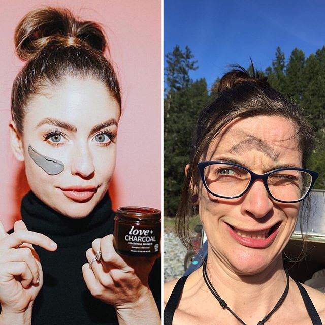 It's just amazing what campfire charcoal does for skin. #campingfail #funnywomen