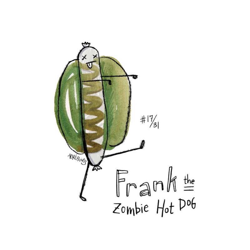 Stinky and smelly, at the back of the fridge forgotten, but not lost, is Frank. A zombie hot dog, with an ol' mustard ridge, he lives on, all moldy and rank.